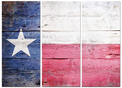 Texas Flag Canvas Wall Art Decor 3 Piece Set Large Decorative Multi Panel Split Prints Rustic Wood Look For Dining Living Room Kitchen