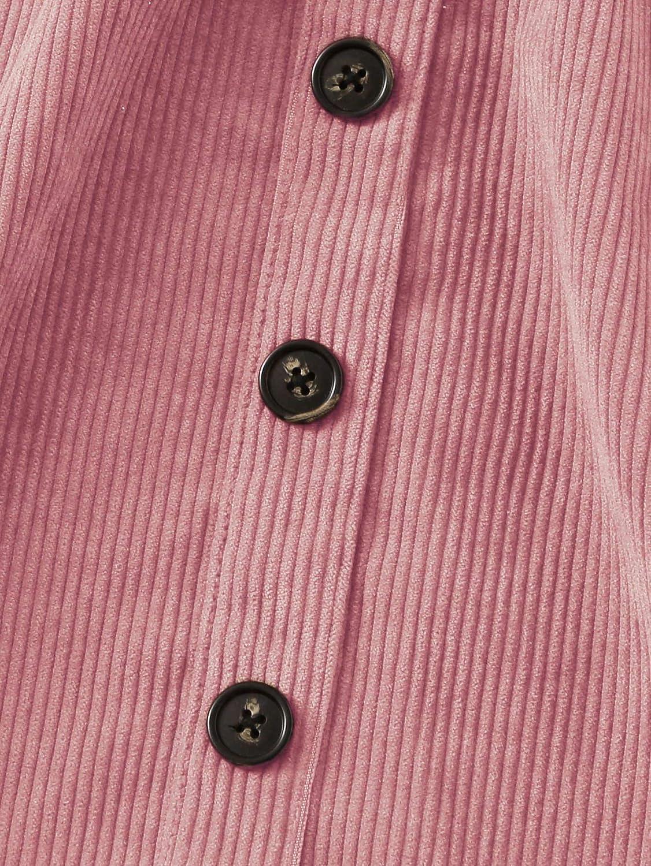 Romwe Girls Cute Corduroy Button Front Criss Cross Back Elastic Waist Solid Overall Jumper Dress