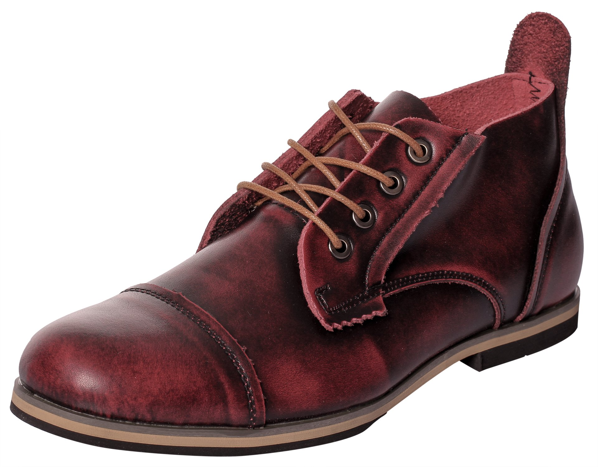 UJoowalk Mens Fashion Leather Lace-Up Cap Toe Dress Original Ankle Desert Classic Chukka Boots (10D(M) US, Burgundy)