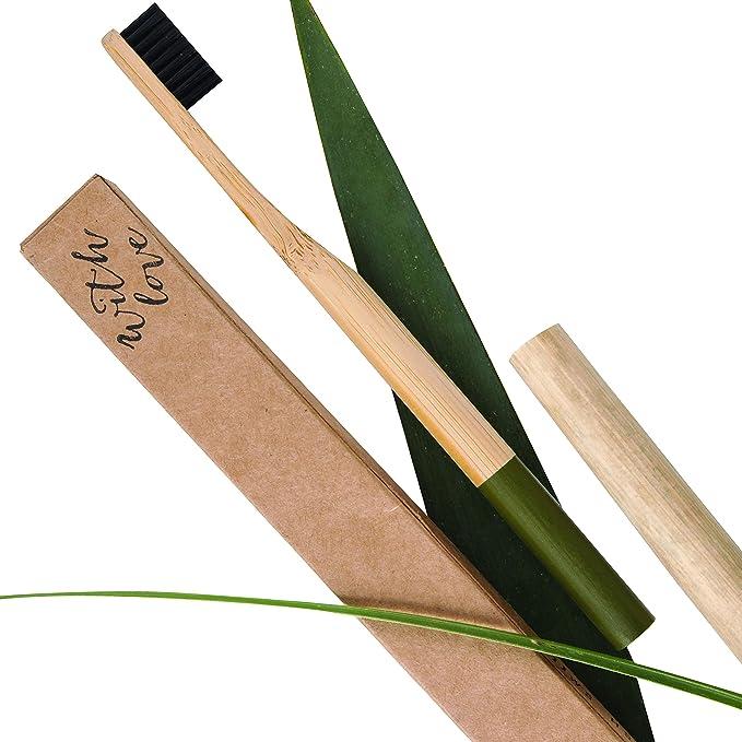 Cepillo de dientes orgánico de bambú con cerdas biodegradables de color verde, sin BPA, 100% sin plástico, tamaño mediano de madera, tamaño adulto: ...