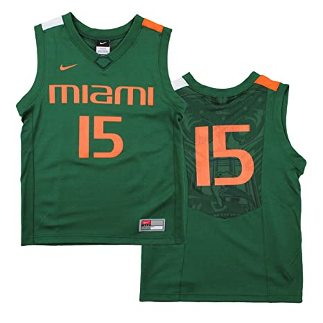 4b9be19cf7b7 Image Unavailable. Image not available for. Color  Nike NCAA Big Boys Youth  Miami Hurricanes  15 Basketball Jersey ...