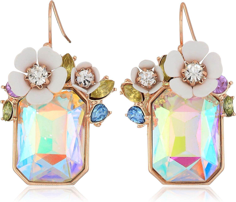 Betsey Johnson Flower Rectangle Stone Drop Earrings, White, One Size