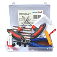 amiciKart Complete Tubeless Tyre Puncture Repair Kit with Box (Nose Pliers + Cutter + Rubber Cement + Extra Strips)