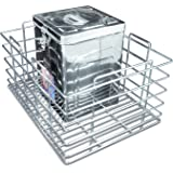 Now & Ever Stainless Steel Modular Kitchen Grain Trolly Basket (17 W x 20 D x 10 H inches, Silver)