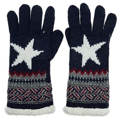 aa5c87b56c4ba3 CASPAR GLV004 warm gefütterte Damen Strick Handschuhe mit Stern,  Farbe:dunkelblau;Größe: