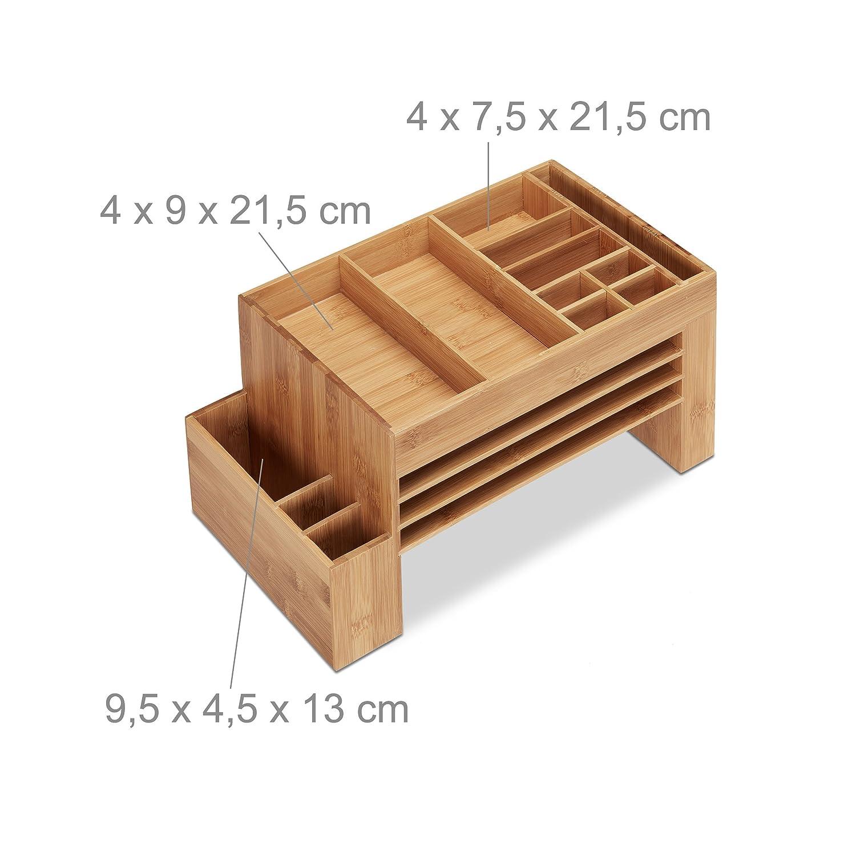 Relaxdays 10021562 Organiseur De Bureau Bambou Lettre Stylos Carte Visite Rangement HxlxP 20 X