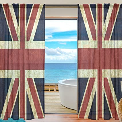 WOZO Custom Vintage Union Jack British Sheer Panel Pair Curtains  55u0026quot;x78u0026quot; Modern Window