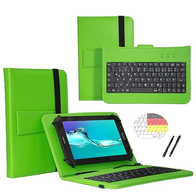 Deutsche Qwertz Tastatur für Lenovo Tab3 10 Plus TB3-X70F Tablet PC Etui Schutz Hülle mit Touch Pen - Tastatur 10.1 Zoll Grün