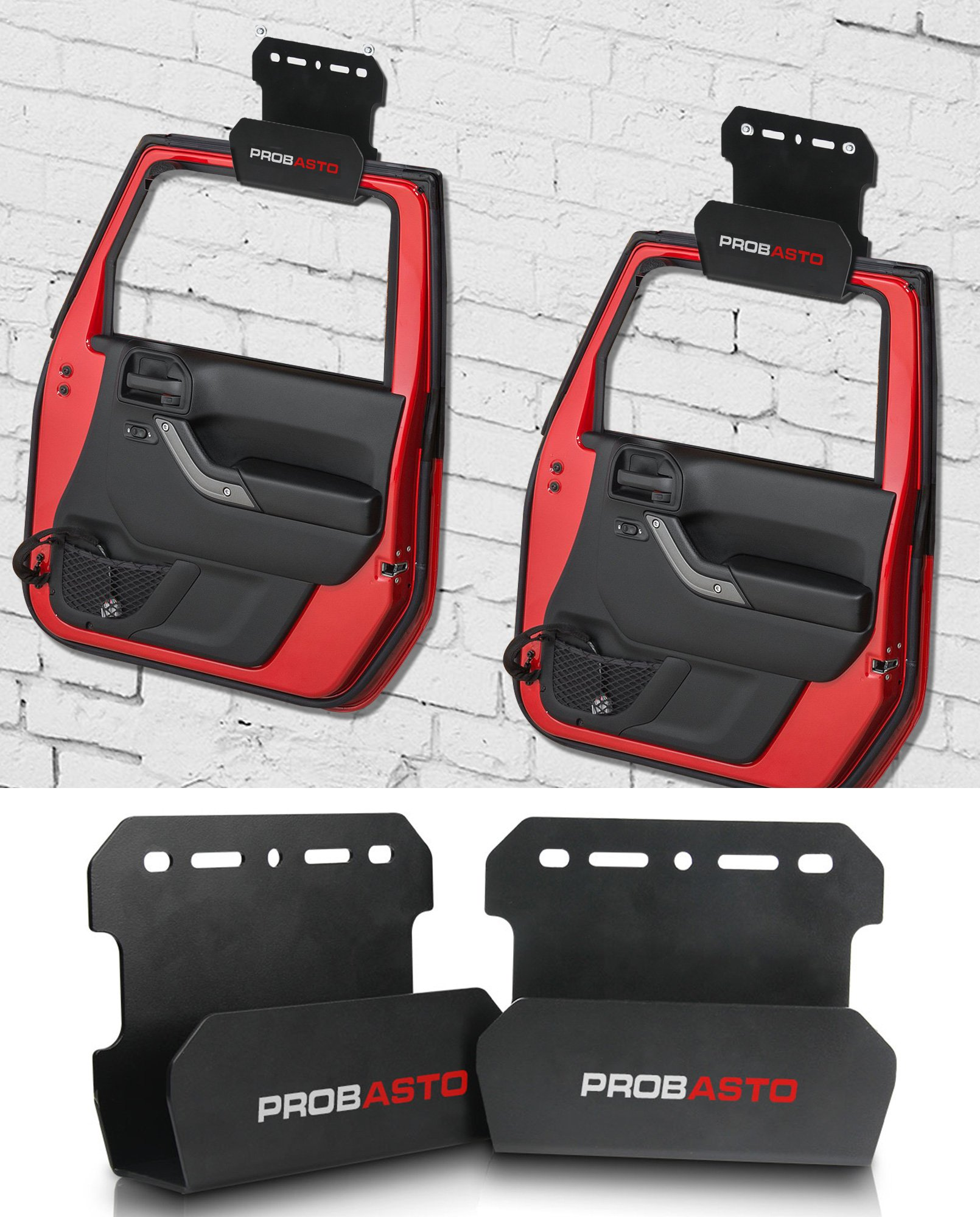 PROABSTO Jeep Door Storage Hanger, Jeep Door Hanger Storage Rack Bracket Fit for CJ YJ TJ LJ JK JKU and the all new JL