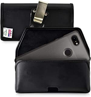 product image for Turtleback Belt Case Designed for Google Pixel 3 (2019) Belt Holster Black Leather Pouch with Heavy Duty Rotating Belt Clip, Horizontal Made in USA