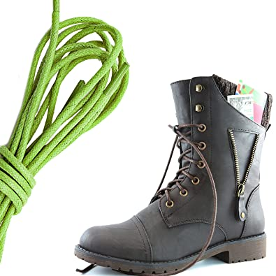 Women's Military Lace Up Buckle Combat Boots Ankle High Exclusive Credit Card Pocket Lime Green