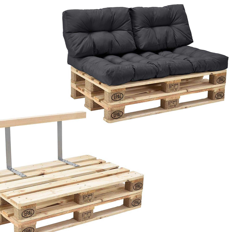 [en.casa] Euro Paletten-Sofa - DIY Möbel - Indoor Sofa mit Paletten-Kissen / Ideal für Wohnzimmer - Wintergarten (1 x Sitzauflage und 2 x Rückenkissen) Dunkelgrau - inkl. 2 Europaletten + Rückenlehne