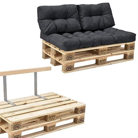 [en.casa] Euro Paletten-Sofa - DIY Möbel - Indoor Sofa mit Paletten-Kissen  / Ideal für Wohnzimmer - Wintergarten (1 x Sitzauflage und 2 x ...