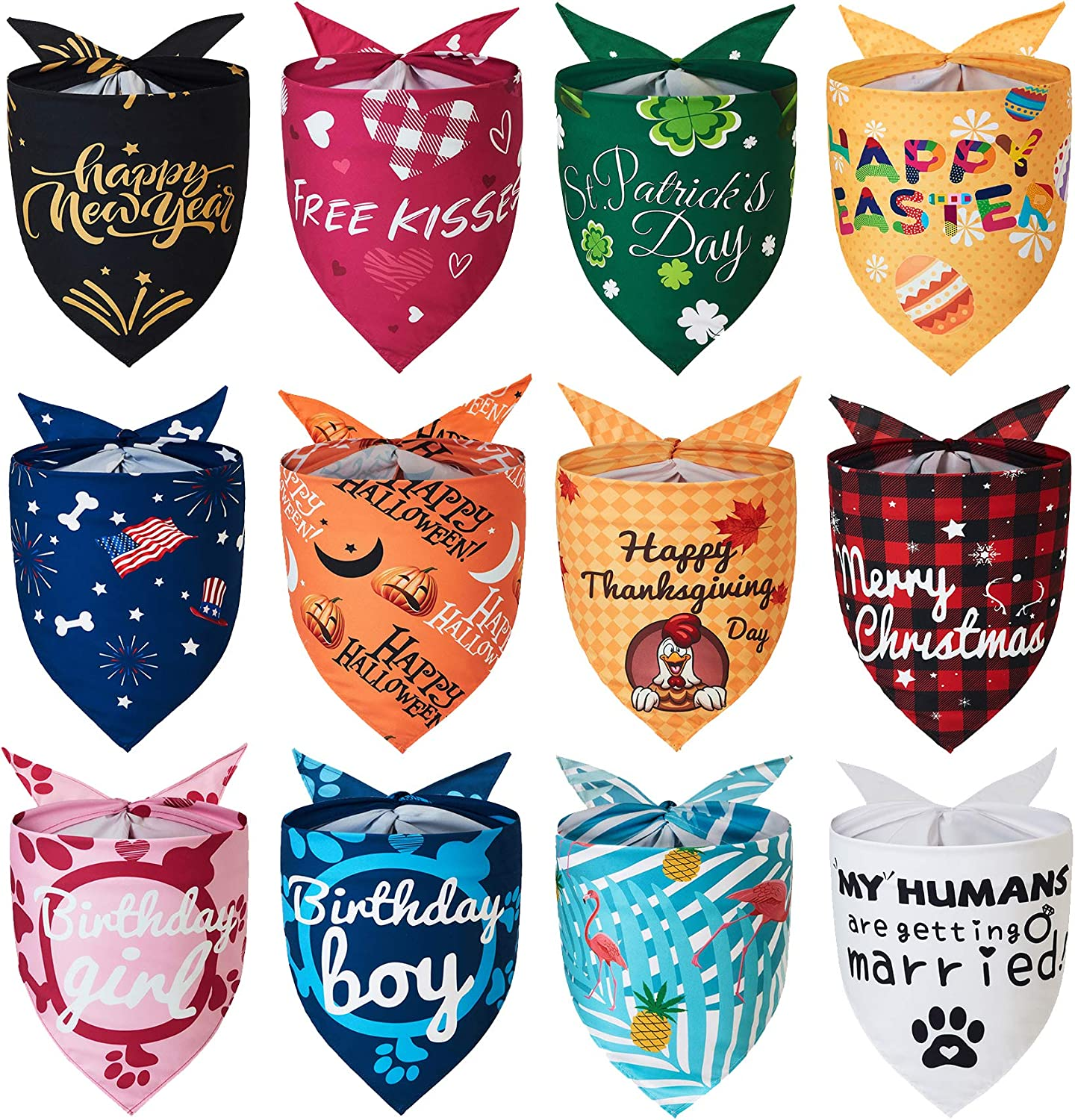 Yespet Birthday Dog Bandanas for small dogs 12 pieces Wedding Summer Pets Bandana Hawaii Easter Independence Halloween Thanksgiving Christmas Valentine St. Patrick's Day Scarf