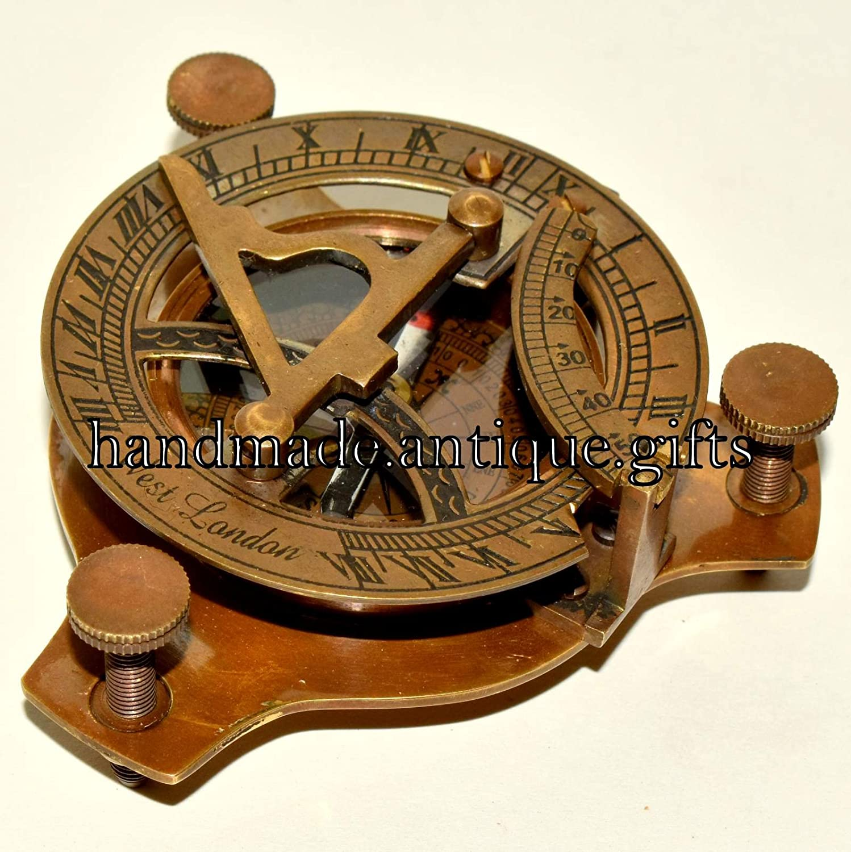 VINTAGE MARITIME WEST LONDON Antique  BRASS SUNDIAL COMPASS NAUTICAL DECOR GIFT