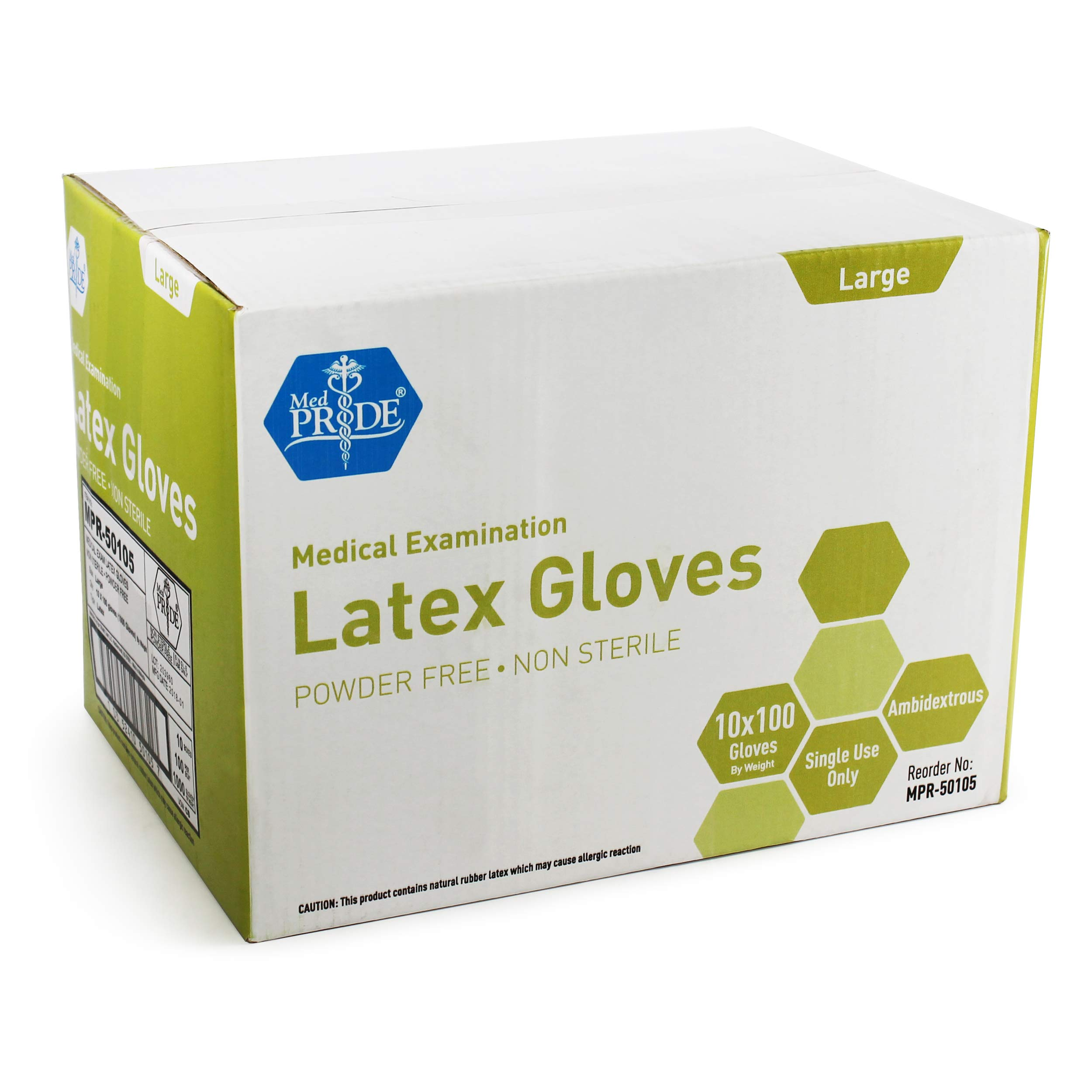 Medpride Medical Exam Latex Gloves| 5 mil Thick, Large Case of 1000| Powder-Free, Non-Sterile, Heavy Duty Exam Gloves| Professional Grade for Hospitals, Law Enforcement, Food Vendors, Tattoo Artists by MED PRIDE (Image #3)