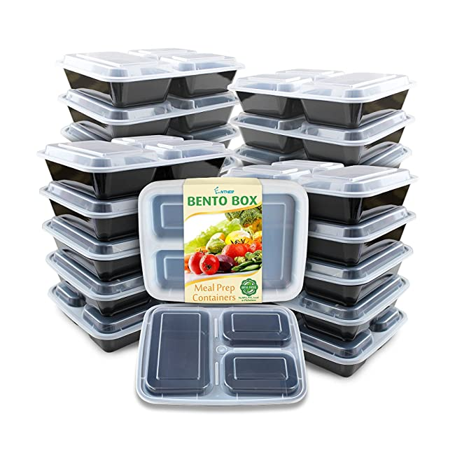 Enther Meal Prep Containers [20 Pack] 3 Compar...