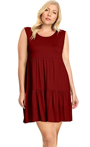 Womens Plus Size Tiered T Shirt Dresses Plus Size Sundress - Made in USA