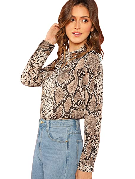 0065242e10a1 Verdusa Women's Tie Neck Snake Skin Print Blouse Long Sleeve T-Shirt Top  Multicolor XS
