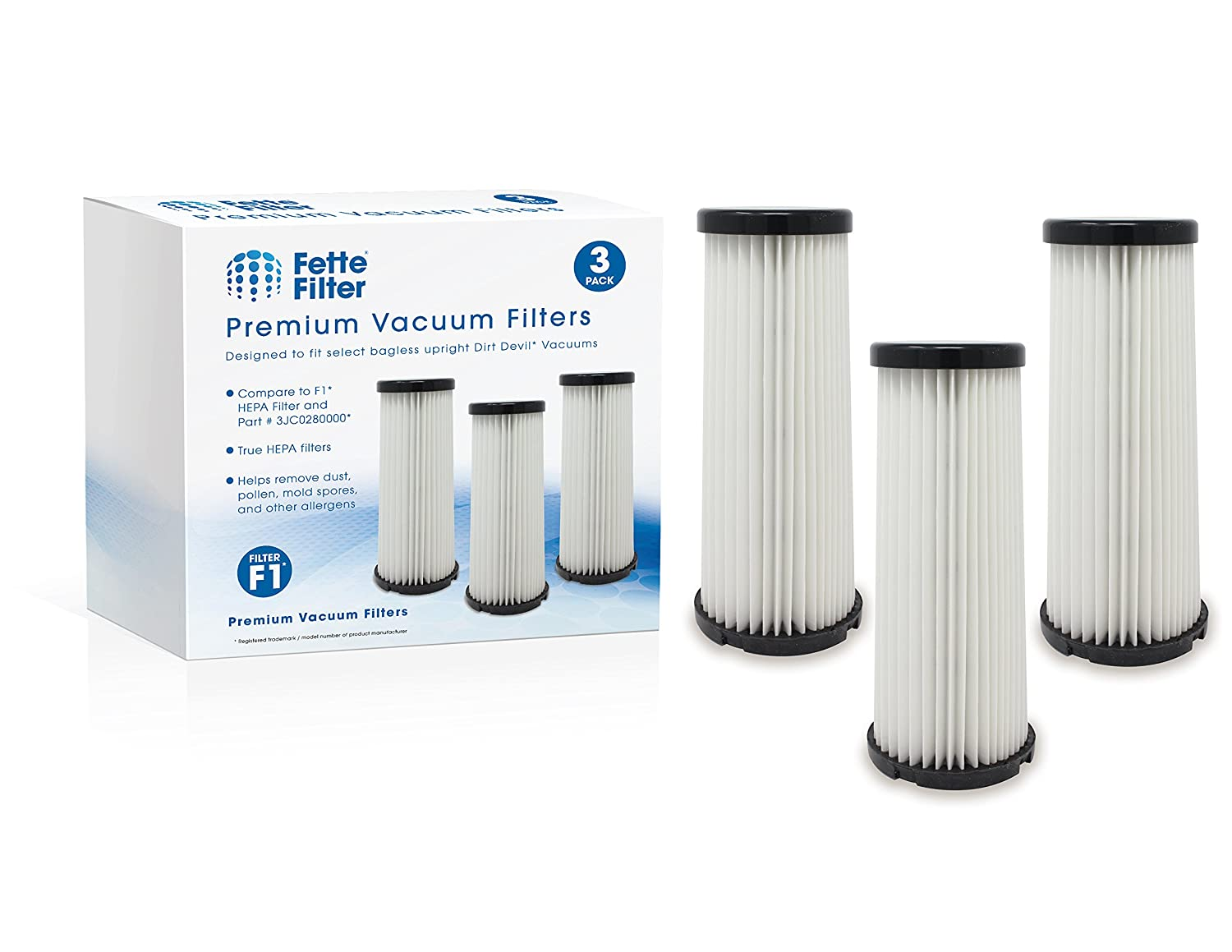 Dirt Devil F1 (F-1) Washable and Reusable Compatible Filter. Compare to Dirt Devil Part #'s 3JC0280000, 3-JC0280-000 & 2JC0280000, 2-JC0280-000 (Pack of 3) Fette Filter FF1136