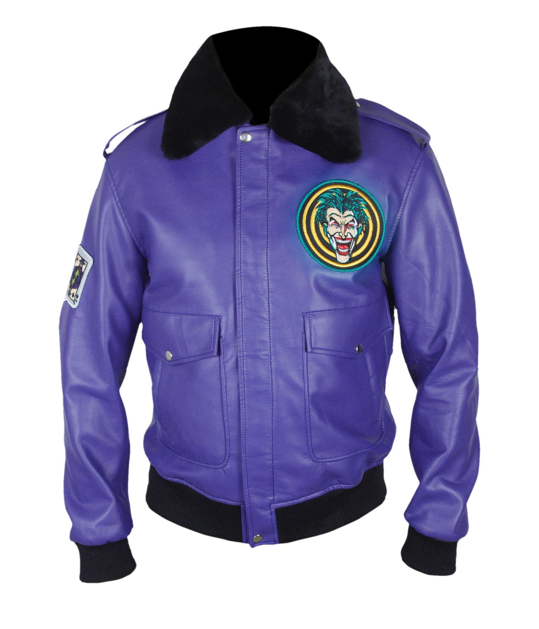 F&H Men's Batman Henchman Joker Goon Purple Bomber Jacket M Purple
