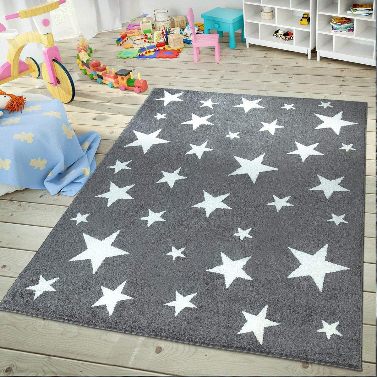 80 x 150 cm Pelo Corto Color Gris Antracita TT Home Alfombra para habitaci/ón Infantil dise/ño de Estrellas Resistente y f/ácil de Limpiar