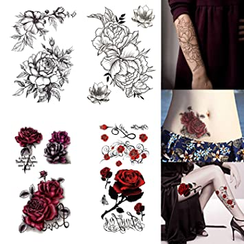 80c8f9893f2ae Rose Temporary Tattoos Sexy Waterproof Tattoos Sticker Floral Flower Fake  Tattoo for Women Girls' Half
