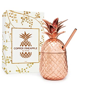 Solid Copper Pineapple Tumbler / Mug with Copper Straw- Available in 3 Sizes (12oz,18oz,24oz)- Handcrafted Drinking Mugs Unique Christmas/ Anniversary/ Birthday Gift Idea
