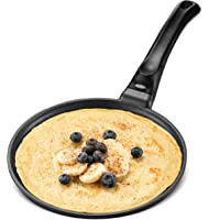 GOURMEX Black Induction Crepe Pan, With PFOA Free Nonstick Coating   Ideal Induction Pan for Egg Omelet and Flat Pancake…