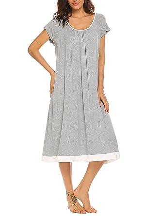 b66e48f317 Ekouaer Women O-Neck Short Sleeve Nightgown Pleated Patchwork Loose  Sleepwear