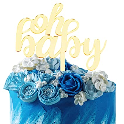 Amazon.com: Oh Baby Gold - Decoración para tartas con espejo ...