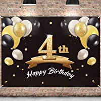 PAKBOOM Happy 4th Birthday Backdrop Black Gold Photo Background Banner 4 Birthday Decorations Party Supplies for Boys