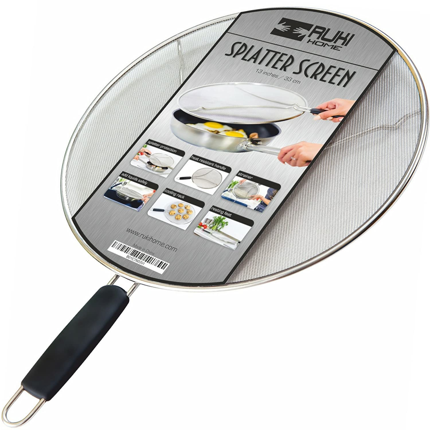 """Splatter Screen for Frying Pan - 13"""" Stainless Steel Splash Guard for Cooking - Extra Fine Mesh with Resting Feet and Heat Resistant Handlе - Pasta Strainer - Cookie Cooling Rack - Dishwasher Safe"""