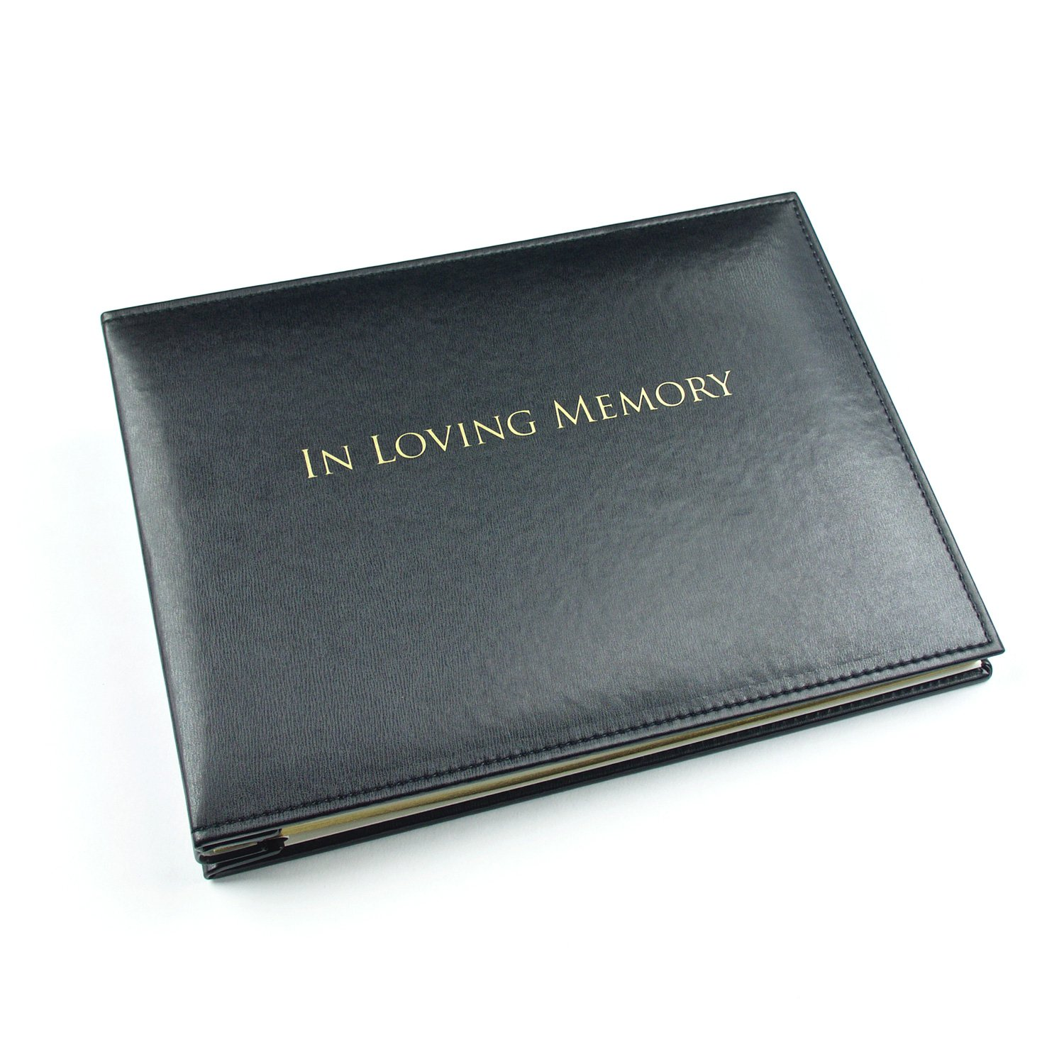In Loving Memory Book - Condolence Book - Funeral Guest Book - Loose Leaf - Black 10.5 x 7.6 x 1.2inches