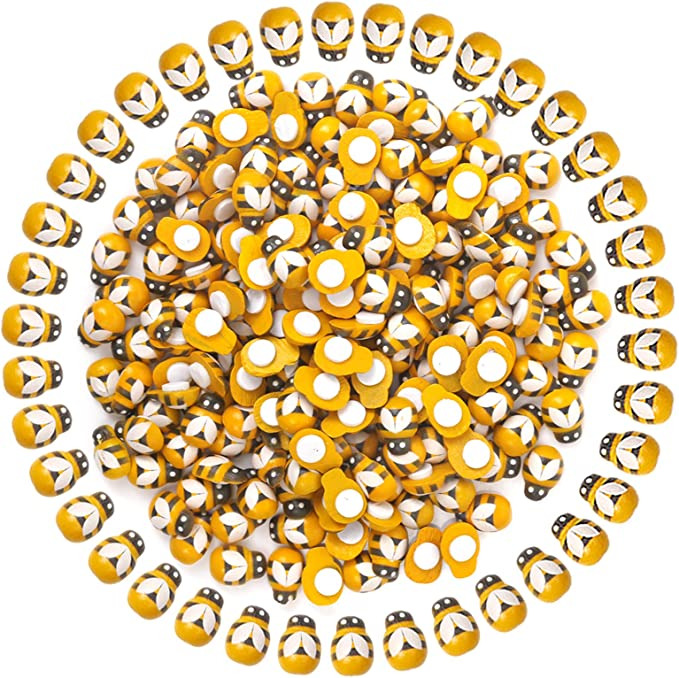 100x Mini Bees Self Adhesive 9x12mm Wooden Bumble Ladybug Art Craft Card Toppers