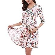Monrolove Women's Maternity Pregnancy Floral Dress Nursing Nightgowns Breastfeeding Sleepwear