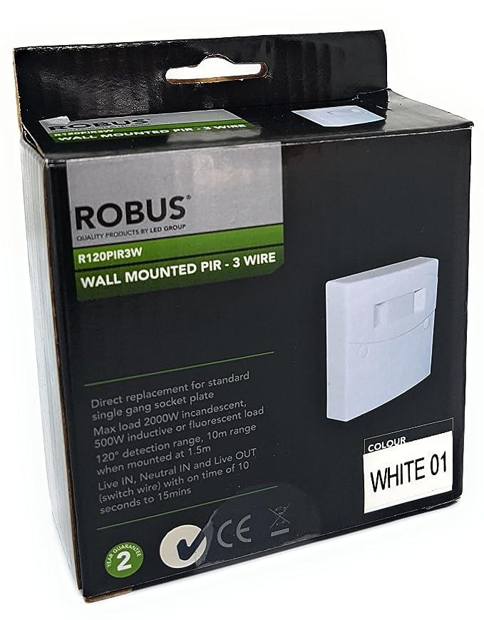 ROBUS R120PIR3W-01 - Wall Mounted PIR 3 Wire - IP20 - 120 Degrees ...