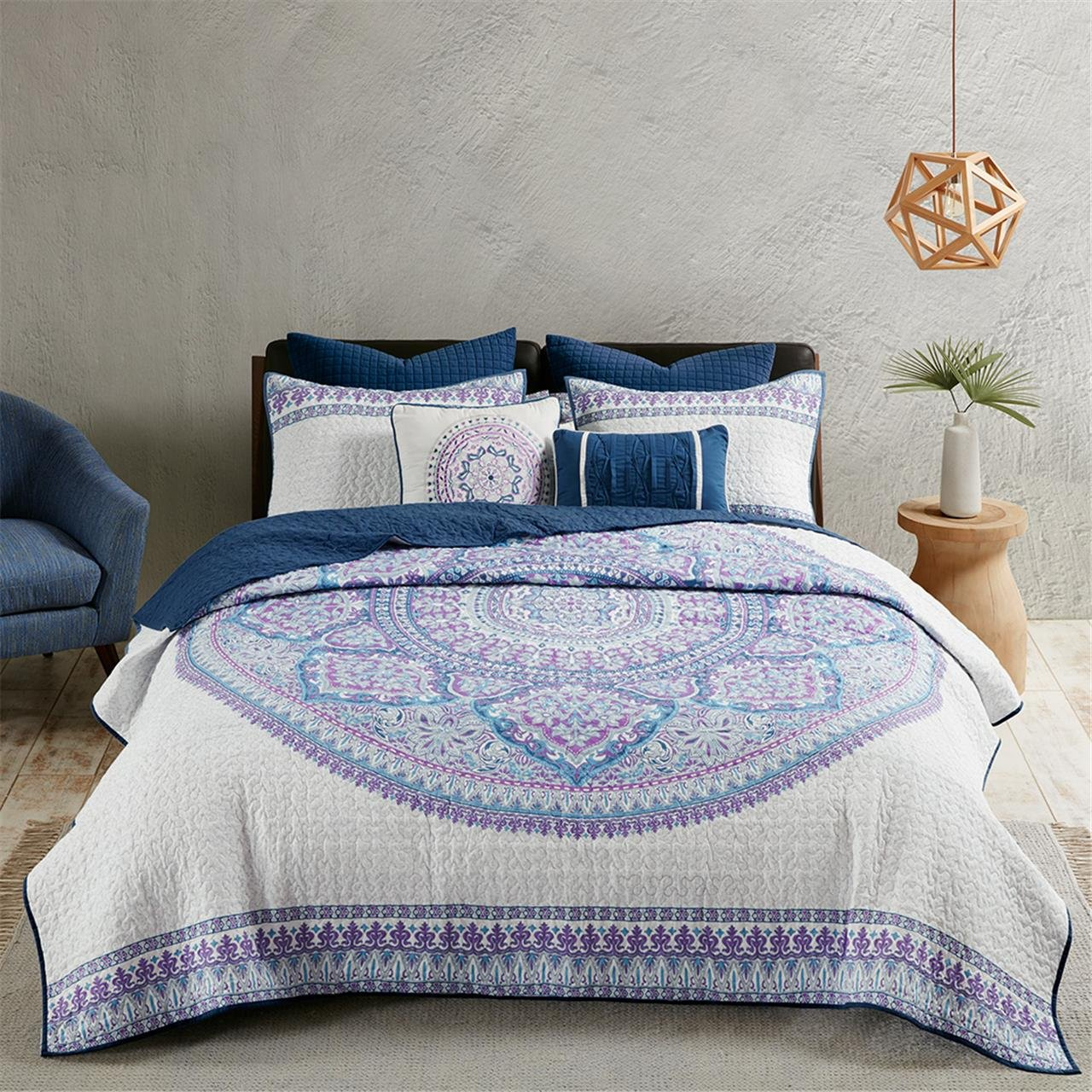 Urban Habitat Coletta Full/Queen Girls Quilt Bedding Set - Purple, Bohemian Medallion – 7 Piece Teen Girl Bedding Quilt Coverlets – 100% Cotton Bed Quilts Quilted Coverlet