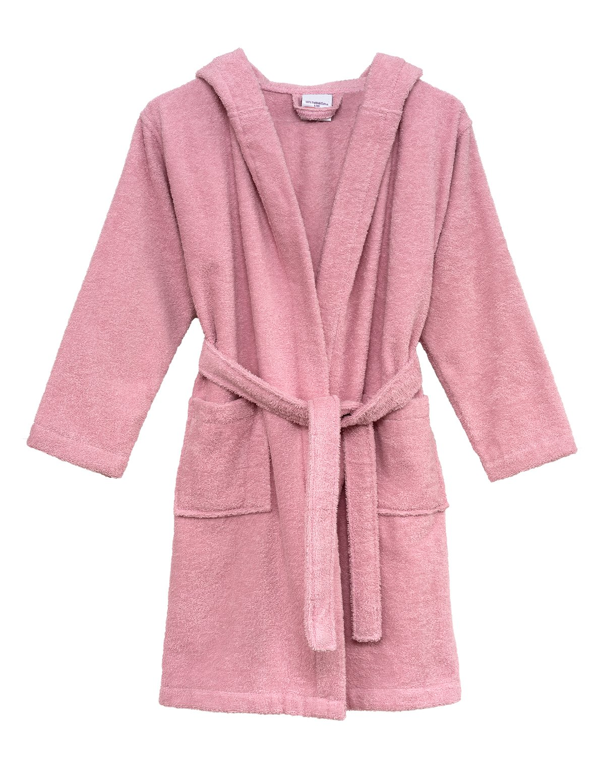 TowelSelections Little Girls' Robe, Kids Hooded Cotton Terry Bathrobe Cover-up Size 6 Coral Blush