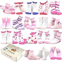 TeeHee (Naartjie) Kids Girls Fashion Variety Cotton Crew 18 Pair Pack Gift Box