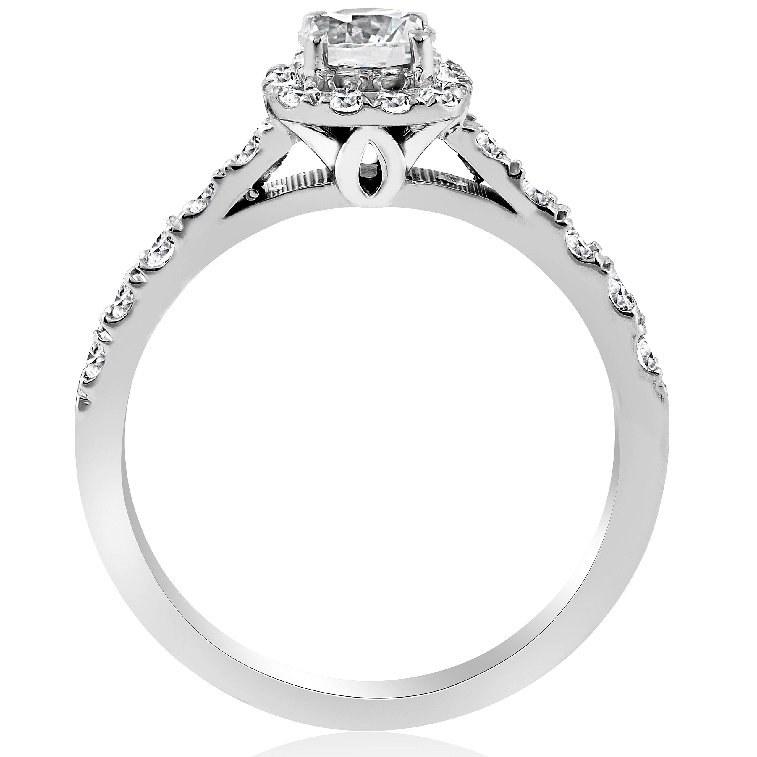 1ct Cushion Halo Diamond Engagement Ring 14K White Gold - Size 4 by P3 POMPEII3 (Image #2)