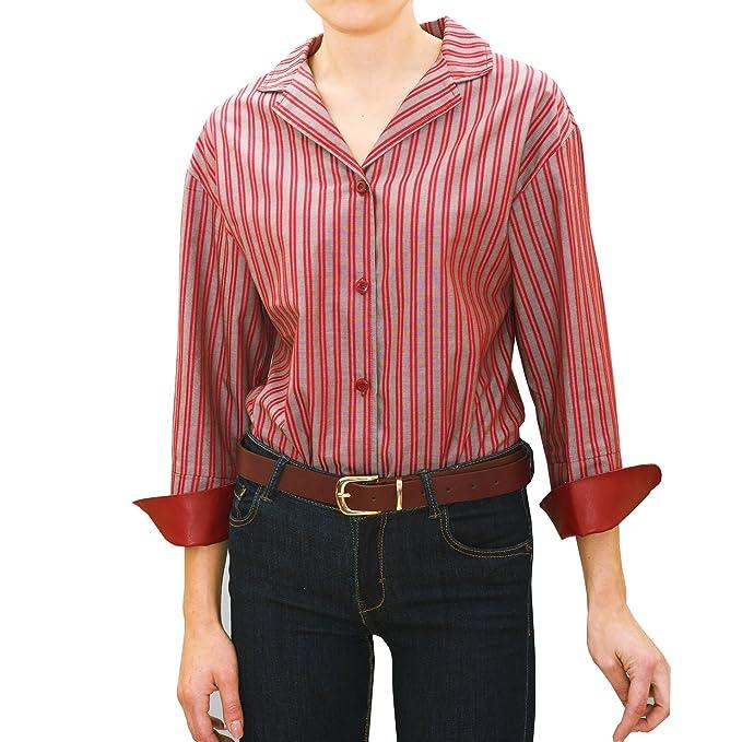 chaika Camisa Blusa Mujer Manga Larga Rayas Rojas Burdeos de Vestir Suelta S