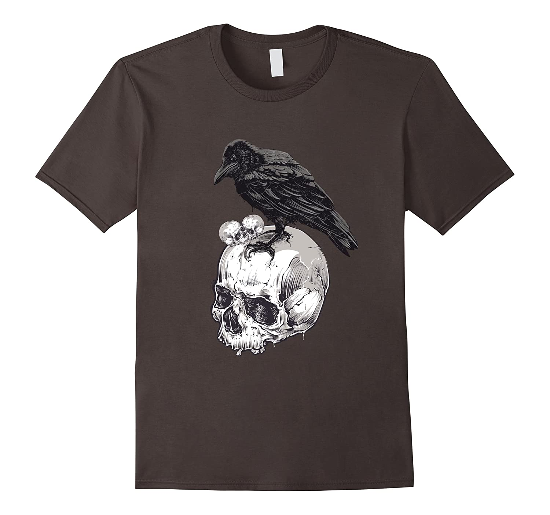 Horror E Allen Poe Nevermore Crow Raven Halloween T-Shirt-TJ