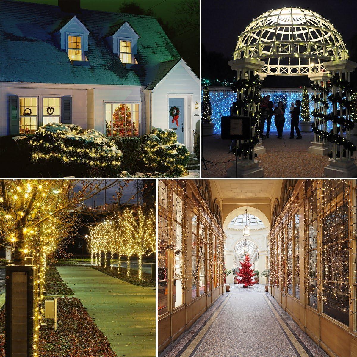 Guirnalda Luces Exterior Solar, 72ft 200 LED Cadena de Luces,IP65 Impermeable Luces Decorativas para Navidad, Fiestas, Bodas, Patio, Dormitorio Jardines, Festivales, etc (Blanco cálido): Amazon.es: Iluminación