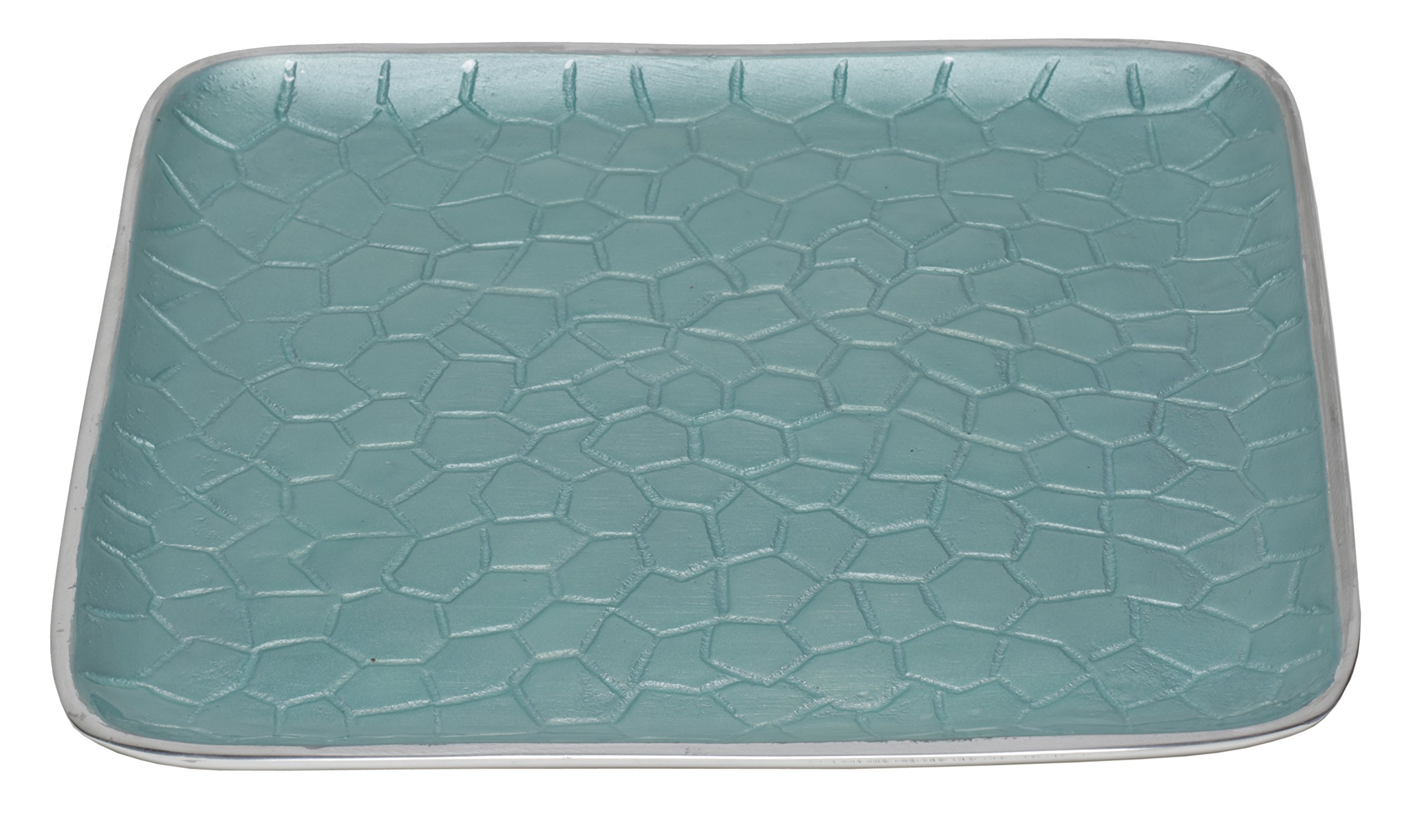 Artisan d'Orient Classic 8'' Square Tray, Color - Aqua, Set of 4