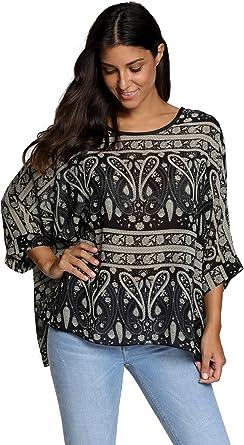 APHT Mujeres Boho Blusa Camiseta y Tops Murciélago Manga Cuello Redondo Camiseta Batwing Cuello Redondo Camiseta: Amazon.es: Ropa y accesorios