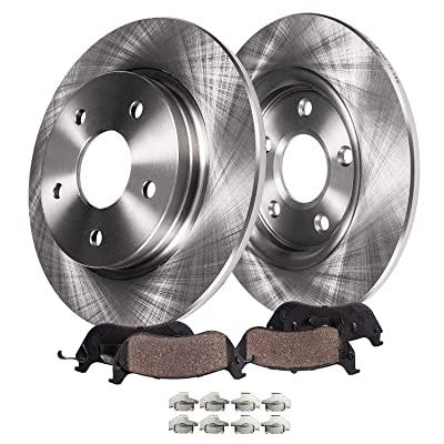 Detroit Axle - 320mm Rear Disc Brake Kit Rotors Ceramic Pads w/Hardware Replacement for 2005-2020 300- [2009-2020 Dodge Chanllenger] - 2006-2020 Charger - V6 RWD Solid Rear Disc Only: Automotive
