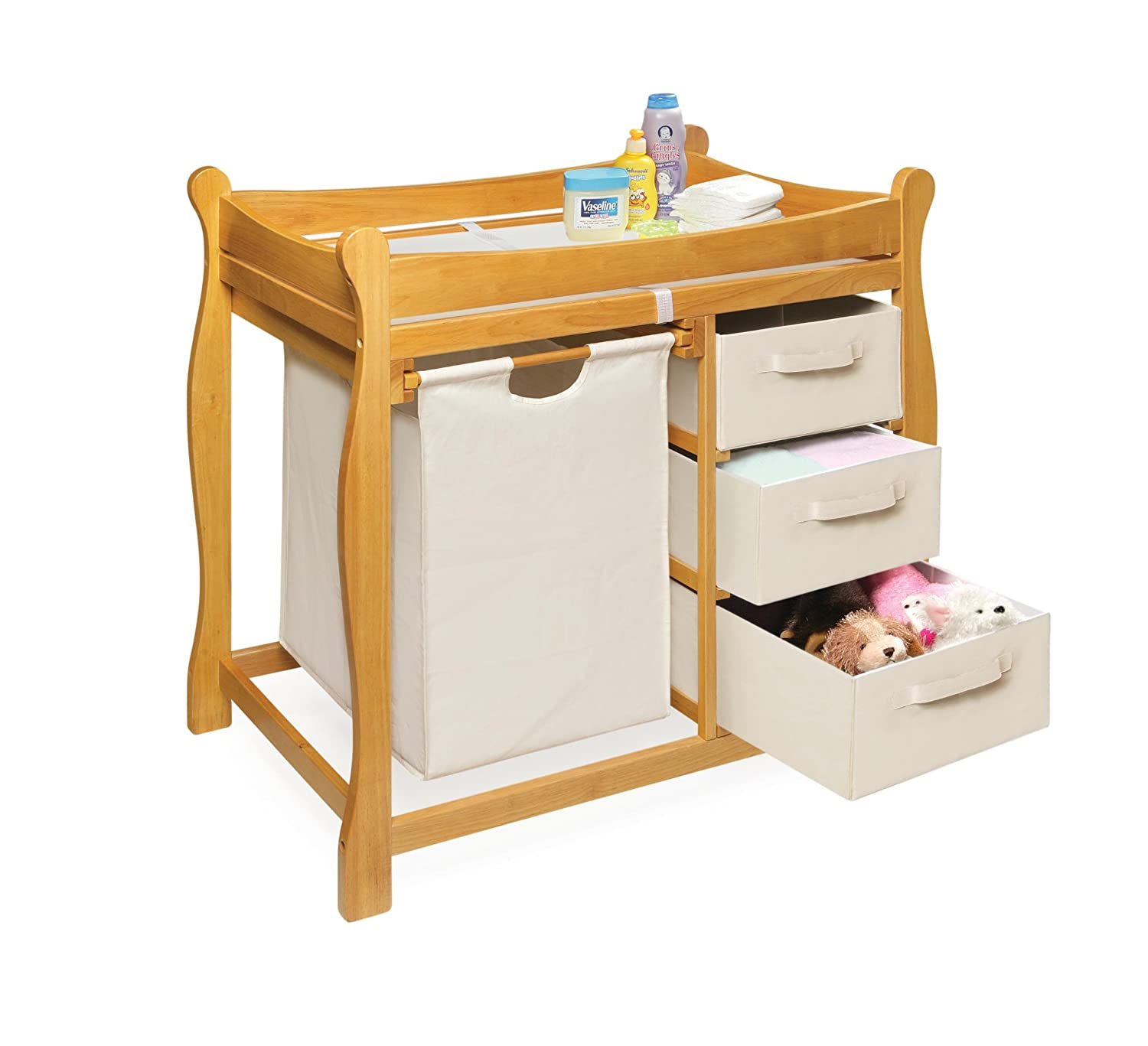 amazoncom badger basket sleigh style changing table with hamper3 baskets honey honey oak changing table baby - Diaper Changing Table