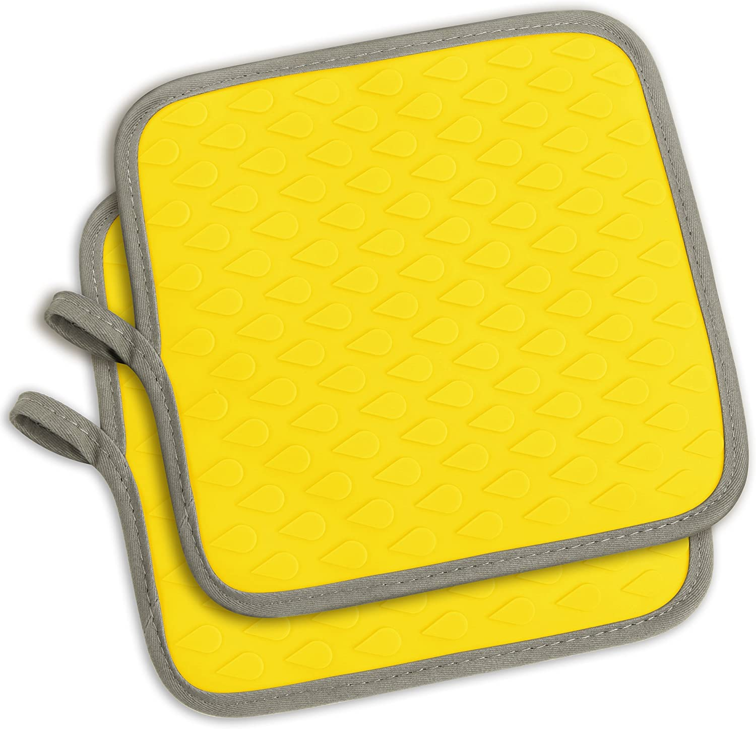 The Ultimate Oven Mitts & Pot Holders Silicone Cooking Gloves, Non-Slip Textured, Kitchen Heat Resistant Safe Mats Fit for BBQ, Grilling, Cooking, Baking(Yellow, 2-Piece Set)