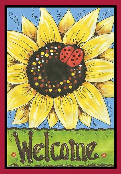 Toland Home Garden Sunflower Lady 12.5 X 18 Inch Decorative Yellow Flower  Summer Welcome Ladybug Garden